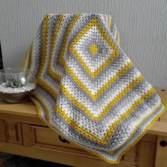 Mega Sale Mustard Yellow Grey And Cream Granny Square By Kaidalys Easy Crochet Blanket Crochet Blanket Patterns Crochet Geek