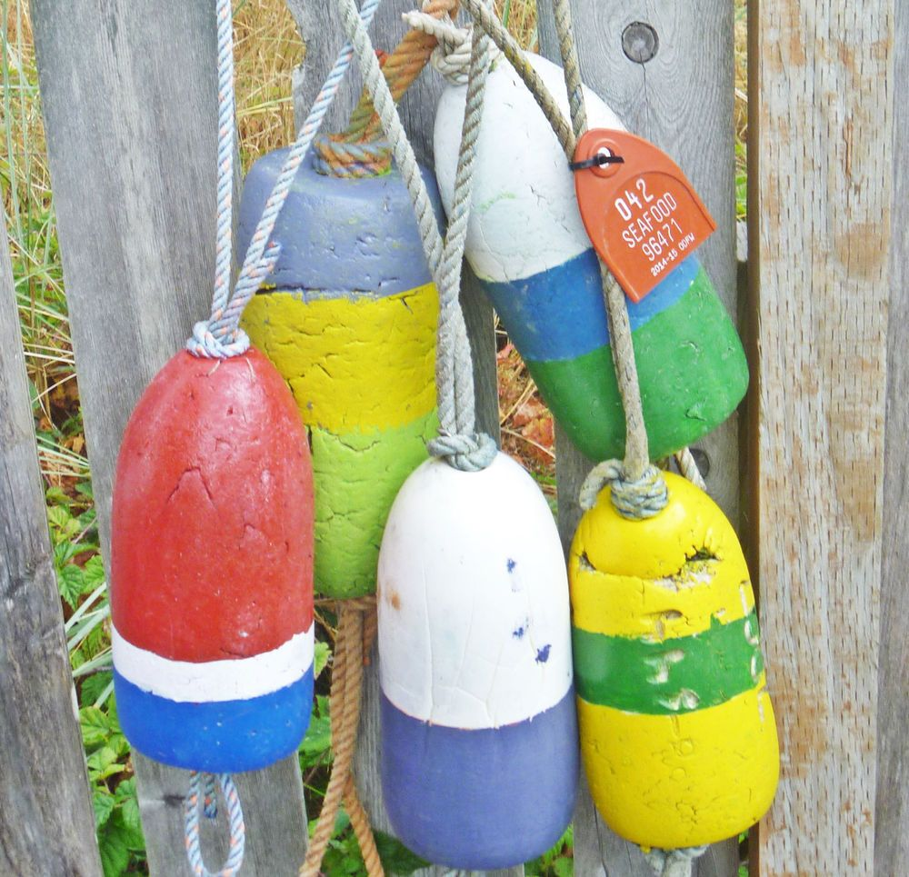 5 BEACHCOMBED CRAB POT FLOATS Fishing Net Float Buoy Lobster Nautical Decor 5.07 in Antiques ...