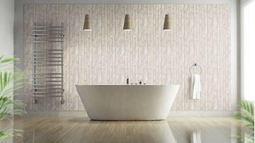 Brix Behang beige in badkamer | Stenen Behang | Pinterest