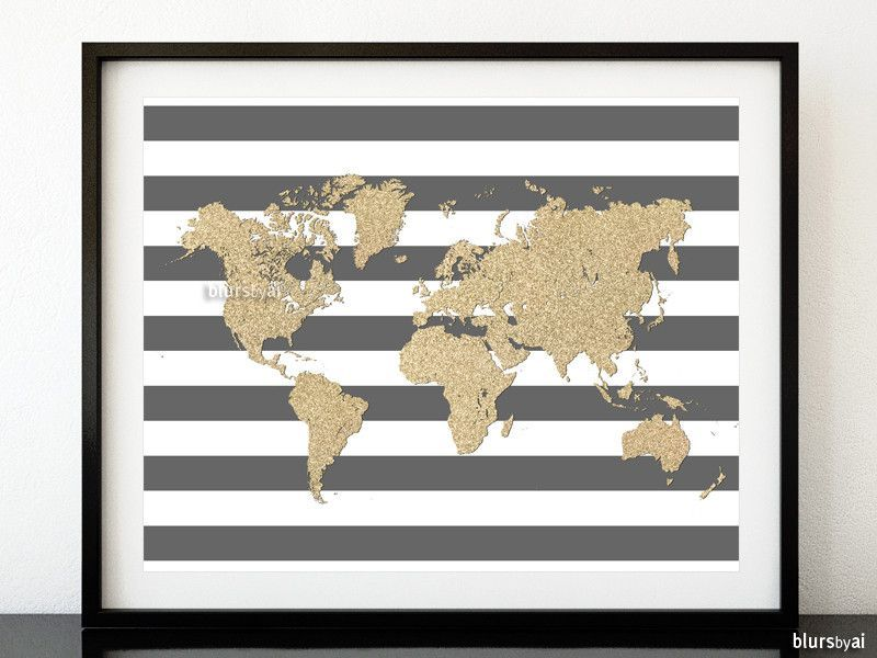 Gold glitter world map in grey stripped background, large 20x16\