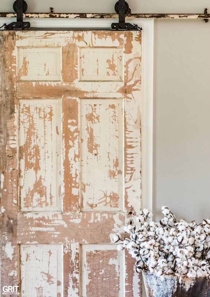 Antique Sliding Door. DIY antique sliding door using antique track and  rollers. Flea market finds - Farmhouse Style Antique Sliding Door DIY FARMHOUSE Pinterest