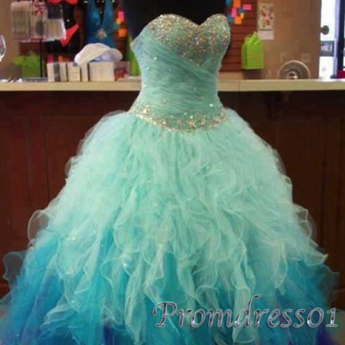 Pretty multi colors strapless sequins prom dress, cute ball gown ...