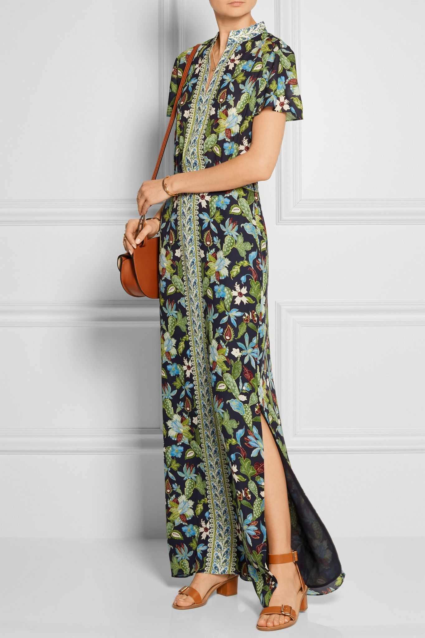 Tory Burch long silk caftan dress in wisteria garden print. Happy ...