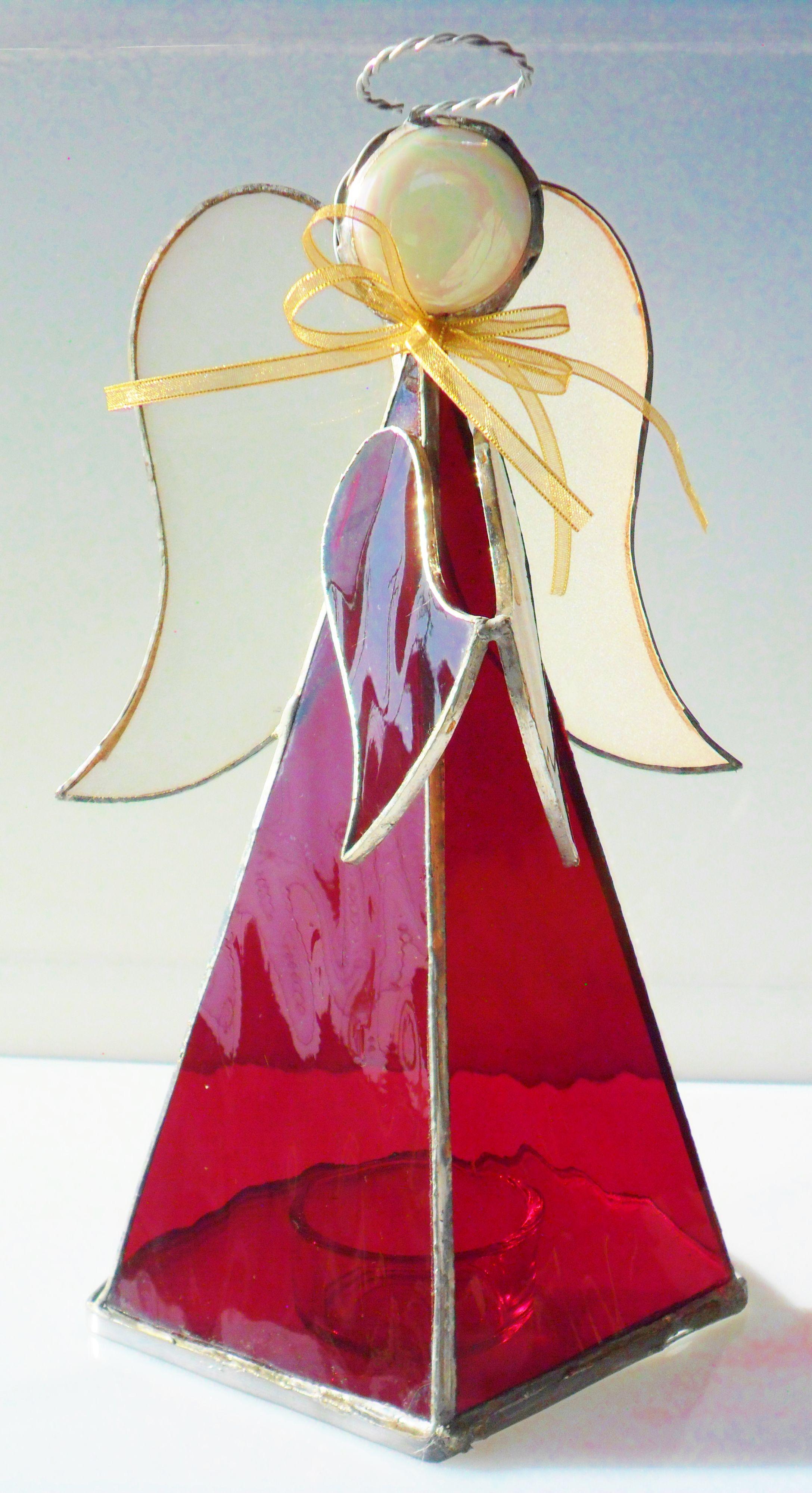 Angel rojo en vitral. | Candle holders | Pinterest | Glas, Engelchen ...