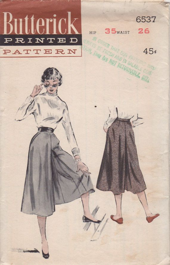 Butterick 6537 1950s Misses Tailored Culottes Pattern womens vintage ...