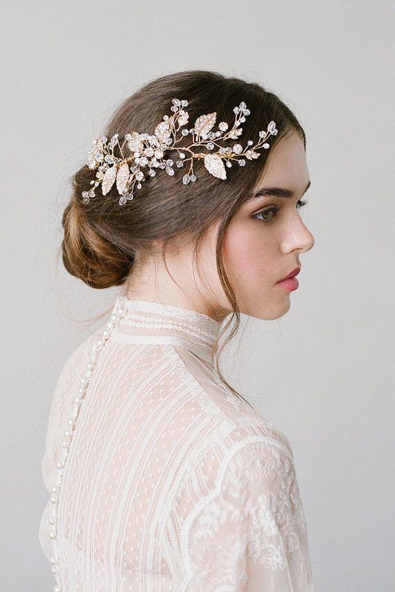 Coiffure mariage Demi Gold Bridal Leaf Hair Comb