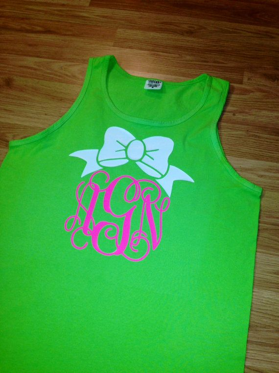 ddb80867 Preppy Bow Comfort Colors Monogrammed Tank Top Custom Glitter Sparkly  Initial on Etsy, $19.99