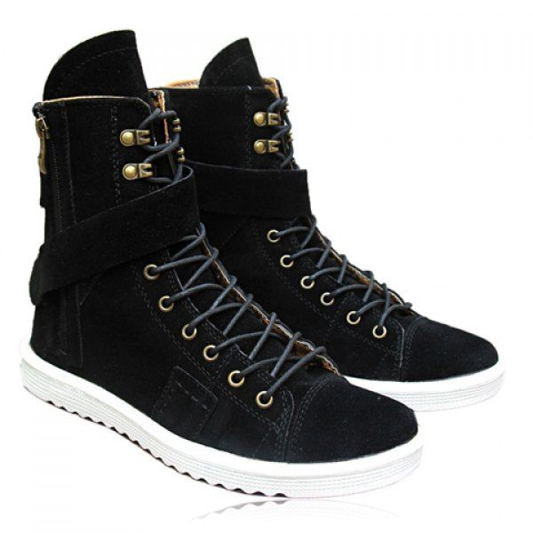 d867f2870f Fashion Zipper and Lace-Up Design Men s Boots