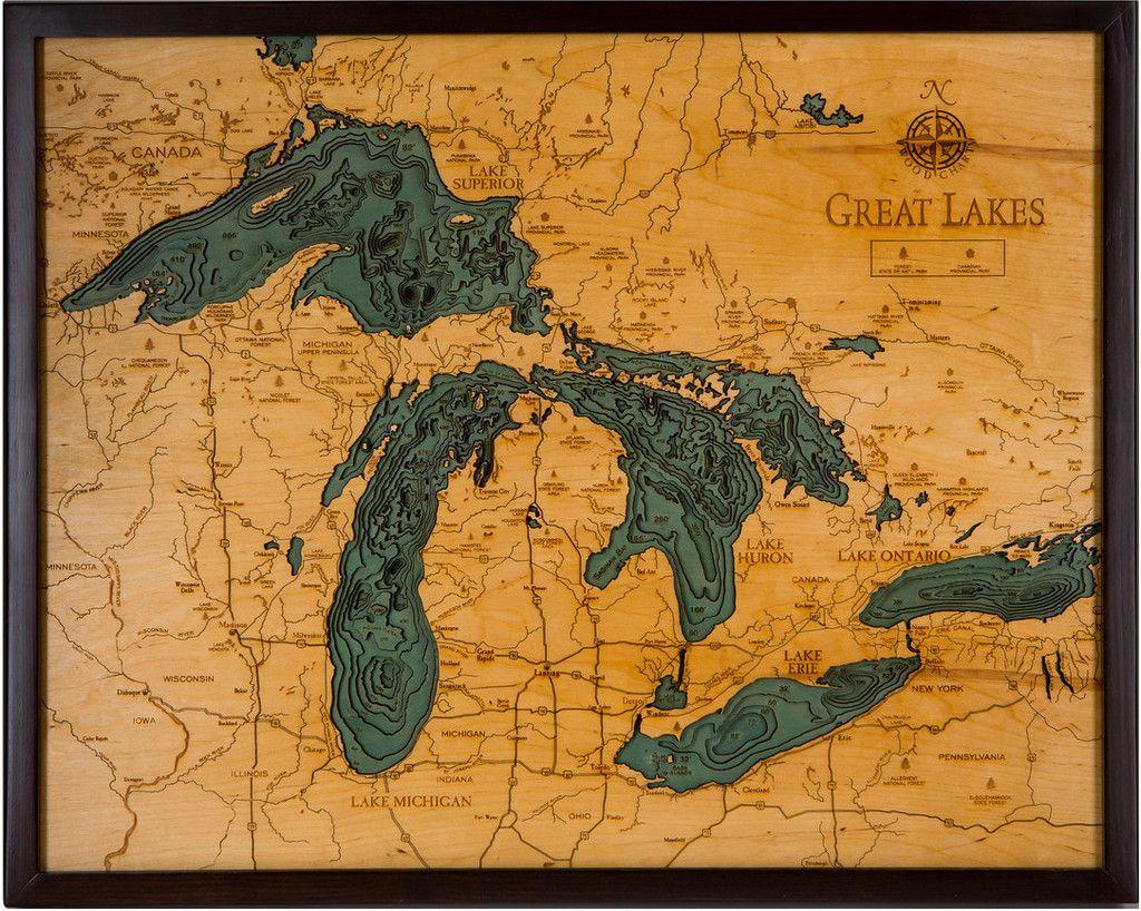 Great Lakes Bathymetric Wood Chart