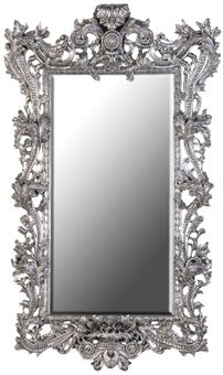 Large Ornate French Silver Mirror Silver Ornate Mirror Silver Wall Mirror Framed Mirror Wall