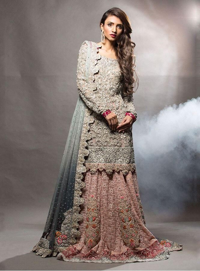565e4eded70 Ash grey short shirt with pink lehnga | Zainab Chottani | Pakistani ...