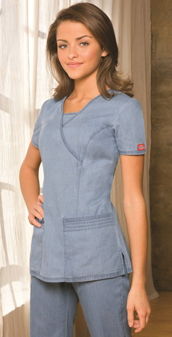 1431b37d502 Denim Mock Wrap Top - Dickies 82752 Uniformes Hospitalares, Uniformes De  Trabajo, Uniformes Odontologia