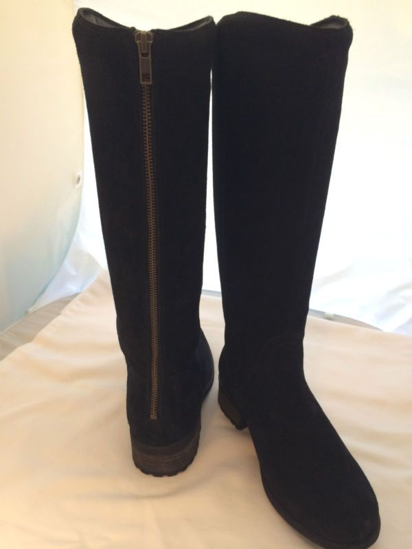 NEW UGG SZ US 7 TALL BLACK SELDON SUEDE &: SHEARLING ZIP BACK BOOTS