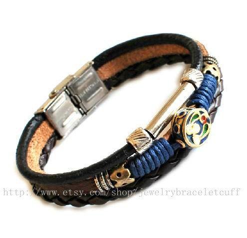 Jewelry bangle leather bracelet man by jewelrybraceletcuff on Etsy, $9.00