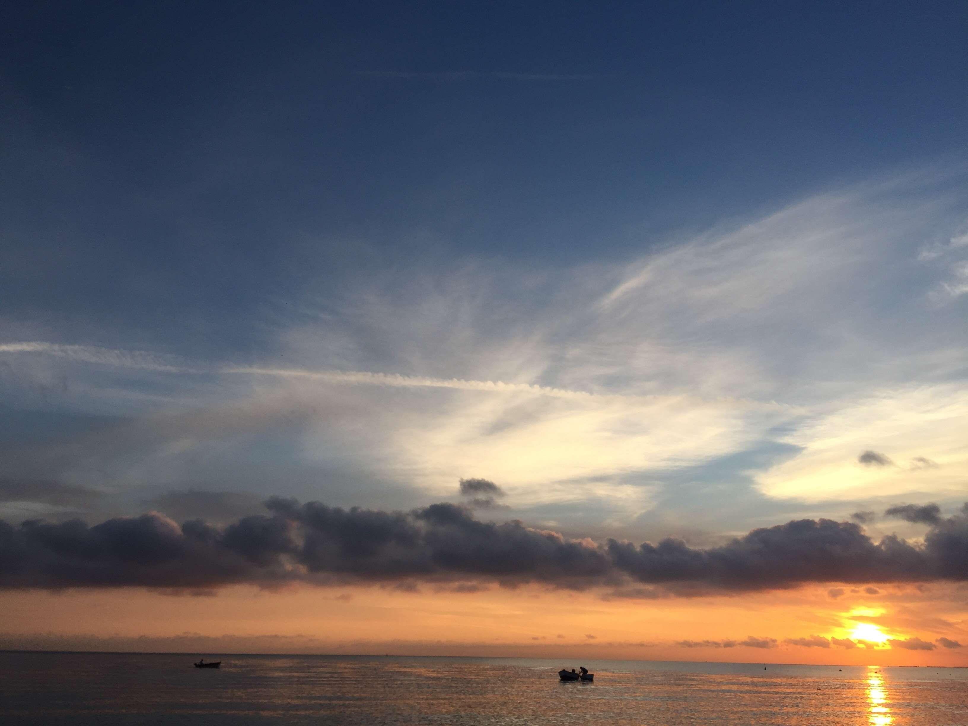 Beach Boats Clouds Cloudy Dawn Dusk Horizon Nature Ocean Reflection Rowboats Sea Seascape Sky Sunrise Sunset Tran Clouds Sunset Clear Blue Sky