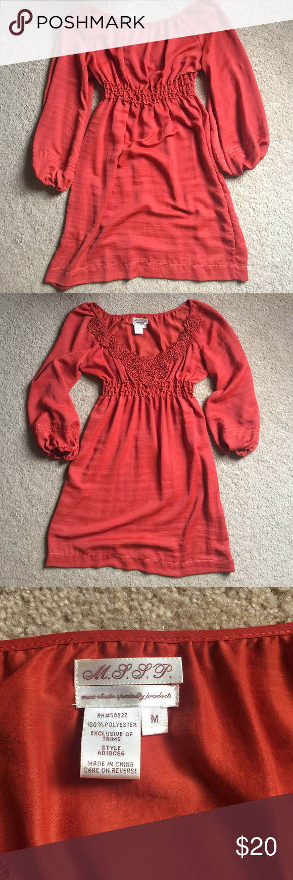 Max Studio Dress 🎉EUC 🎉••• 💥Make an OFFER or BUNDLE for a DISCOUNT 😃•••• M.S.S.P. Dress. It's a beautiful burnt orange color (pumpkin color), with a beautiful design and empire waist. Hits right around the knee. CAN NOT describe how BEAUTIFUL this dress really is 😍 Max Studio Dresses