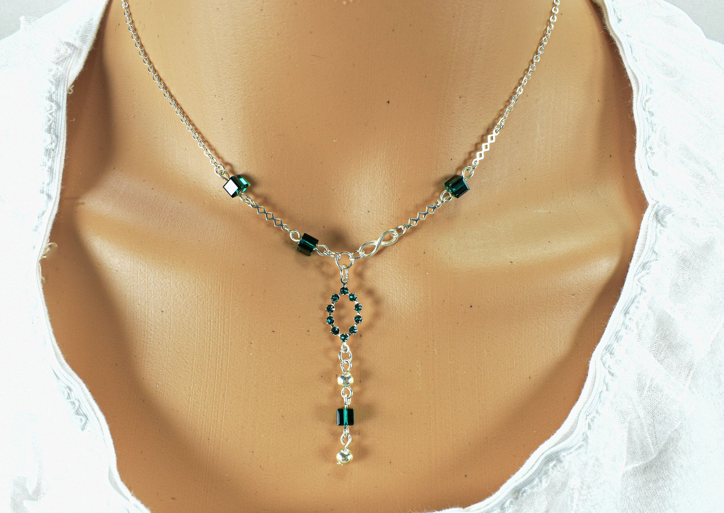 Green Swarvoski Crystal and Silver Necklace 15