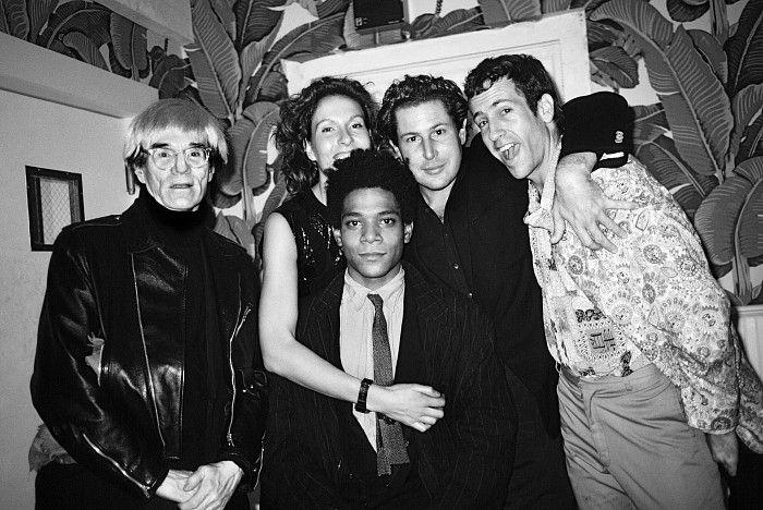 Roxanne Lowit, Andy Warhol, Jacqueline and Julian Schnabel, Kenny Scharf, Jean Michel Basquiat, Indochine, New York 1985, Gelatin silver pri...