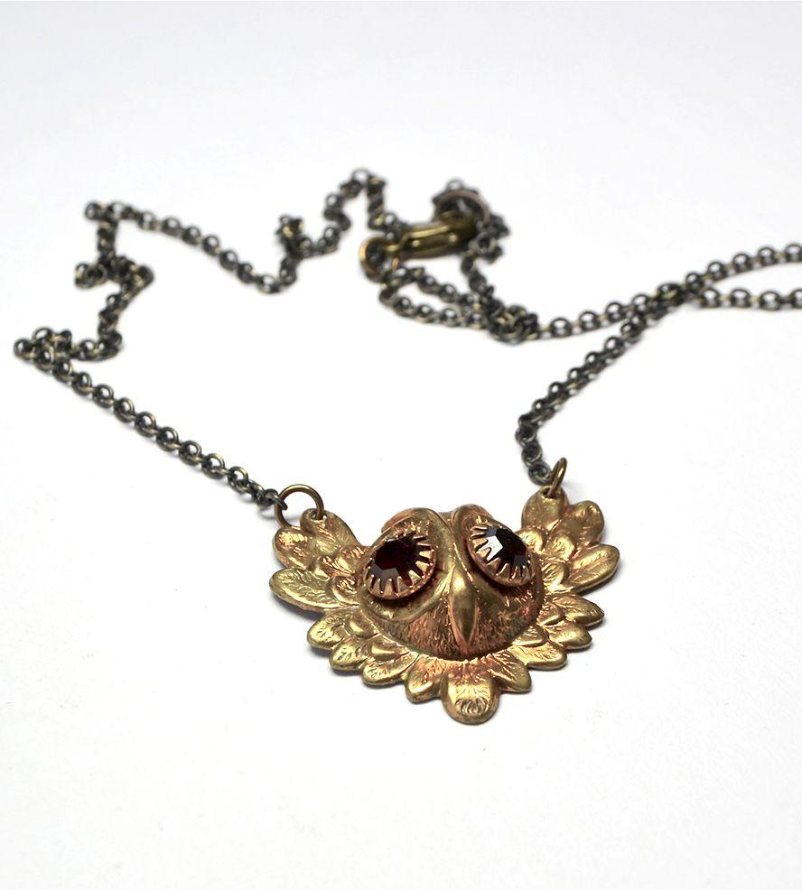 Vintage Owl Rhinestone Necklace