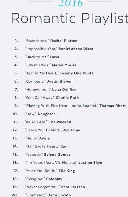 Song list romance