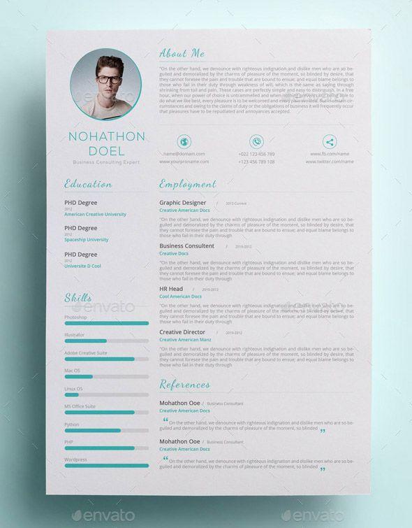 Modern and Clean CV Modern resume template Pinterest Modern