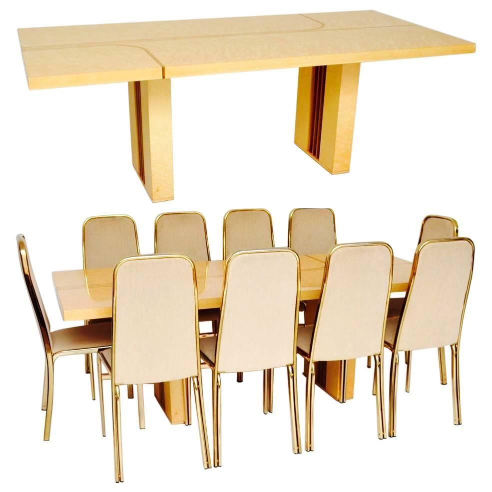 Retro Italian Maple And Brass Dining Table And Chairs By Zevi