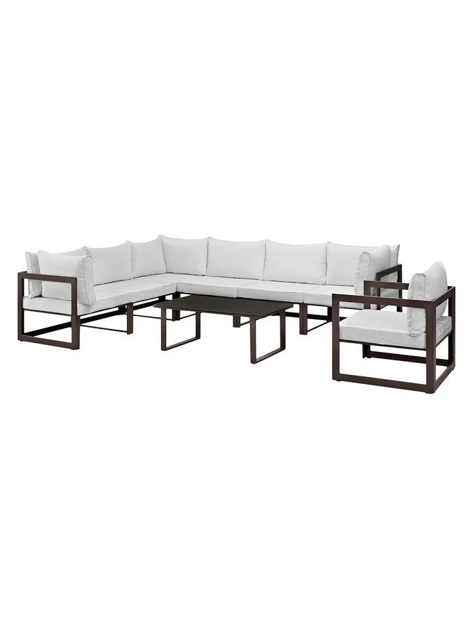 6 Pc Patio Set With Umbrella: Fortuna Patio Sectional Sofa Set (8 PC) From Metal Moment