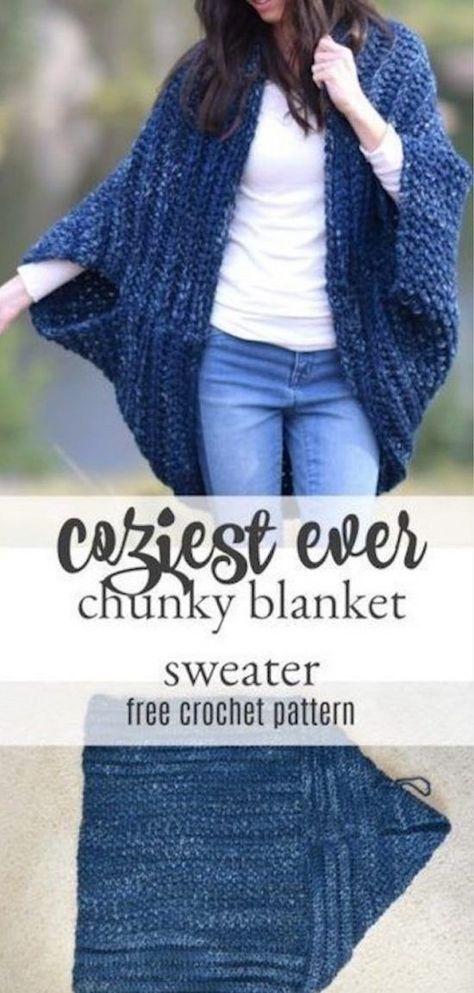 Oversized Chunky Sweater Pattern Gorgeous Crochet Ideas #blanketsweater