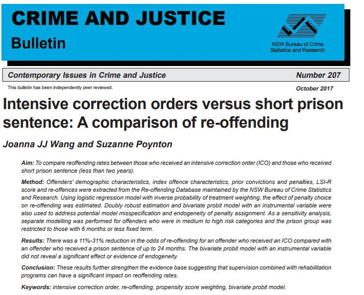 Bocsar Finds Intensive Correction Orders Reduce Re Offending Http
