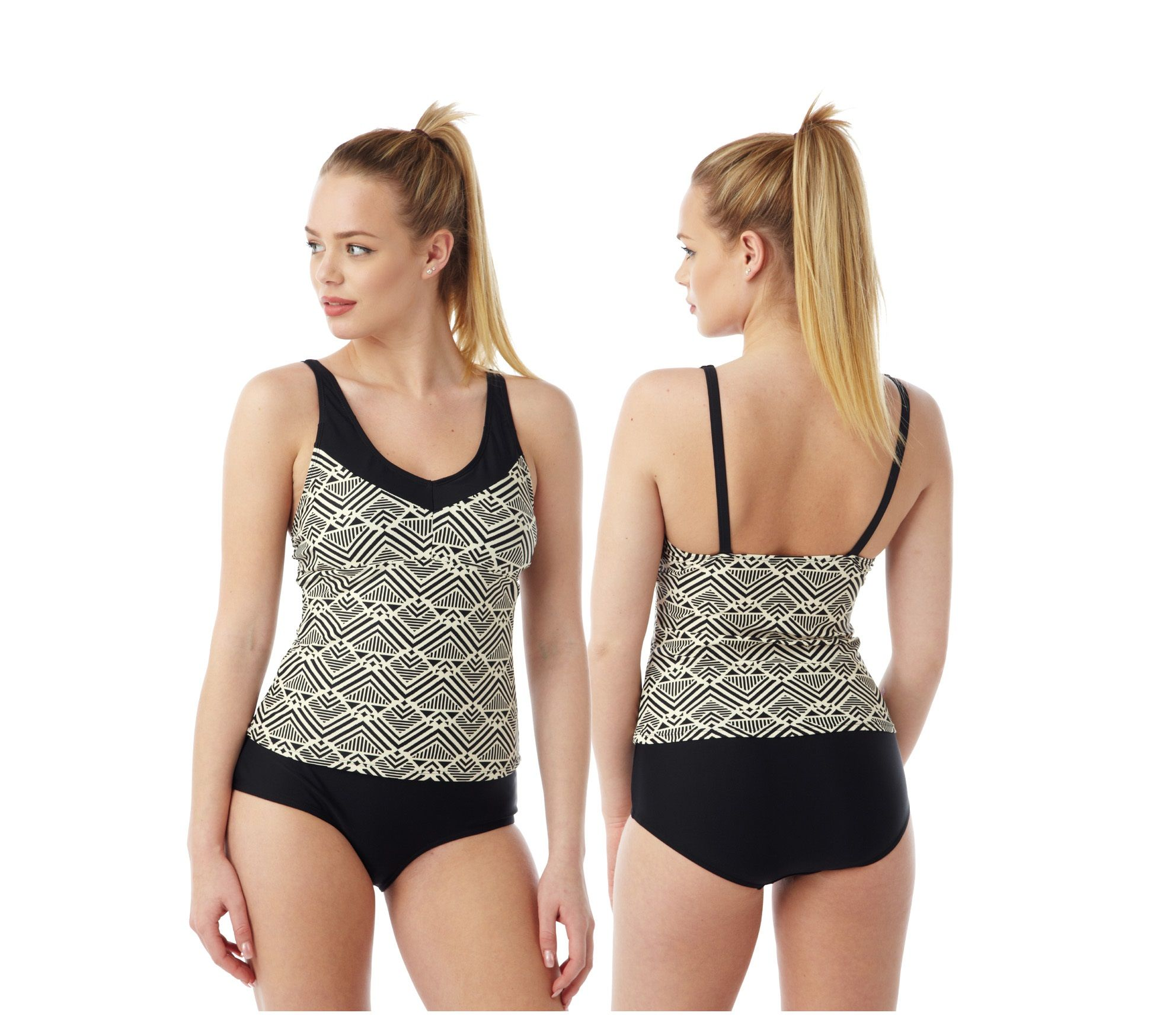 6453ae6e8e Black Print Tankini: in UK sizes 10, 12, 14, 16, 18, 20, 22 & 24. Choose  from cup sizes B to C cup or D to DD cup. With standard straps, full cover  bottoms.