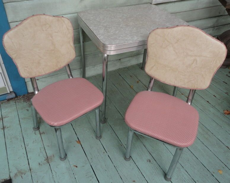 Mid Century Chrome Formica Kitchen Table 2 Chairs Childrens Size ...