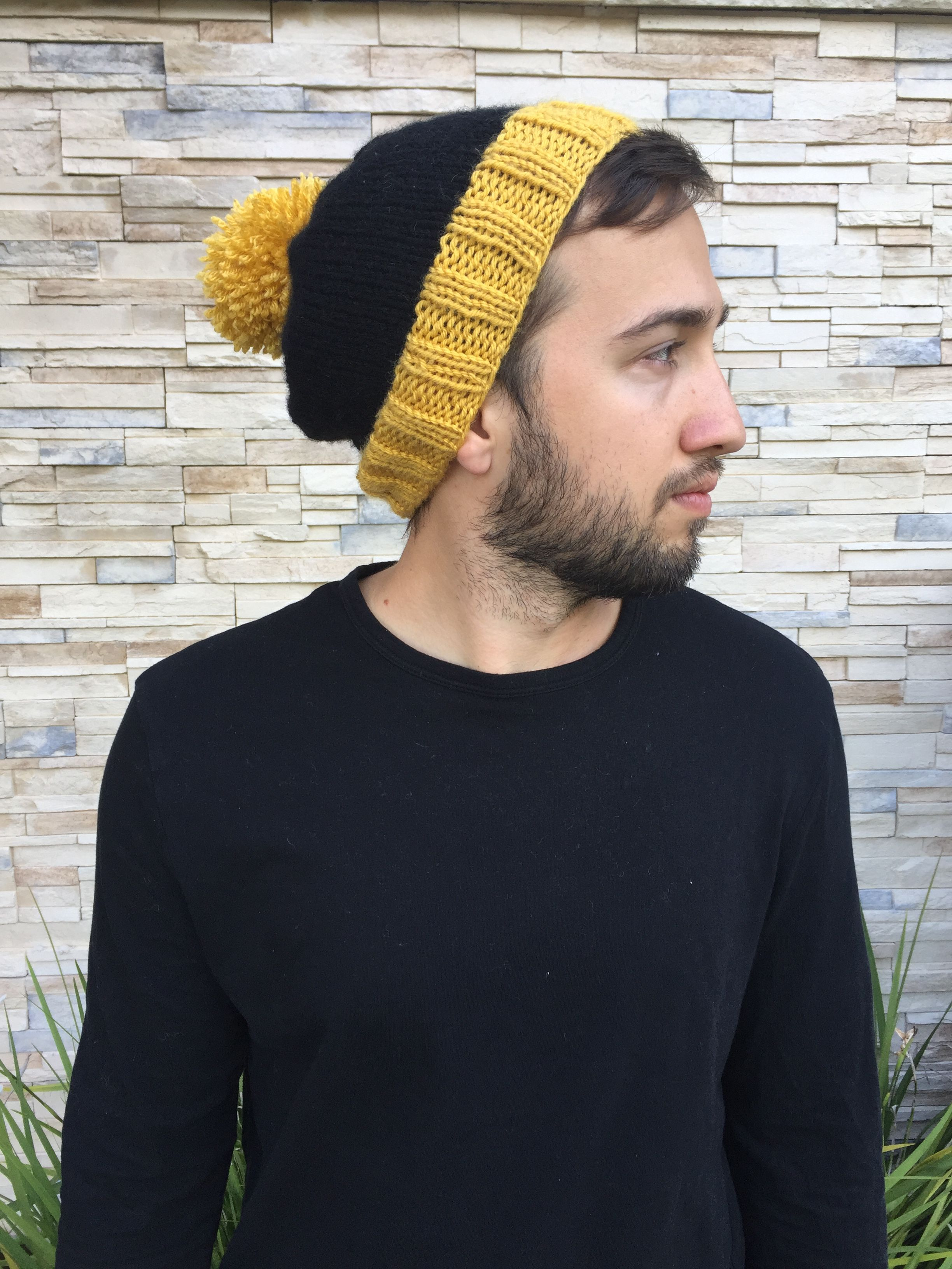 c2872fd74f1 Collegiate Rib Brim Beanie    Mustard Yellow   Black    Slouchy Hat ...