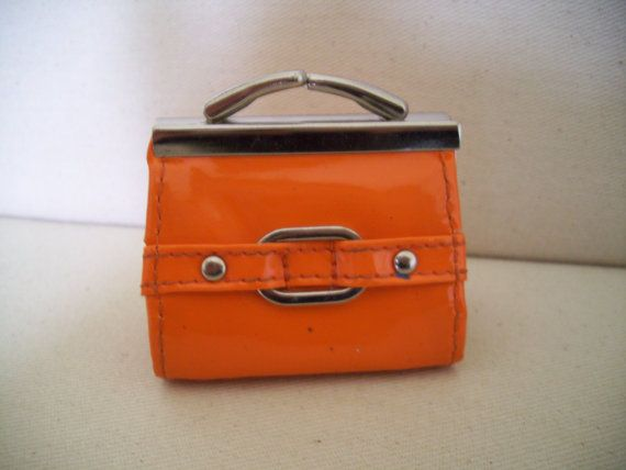 41865d621f6e 70s Orange Vinyl Clutch Purse Vintage Tangerine Coin by JirjiMirji