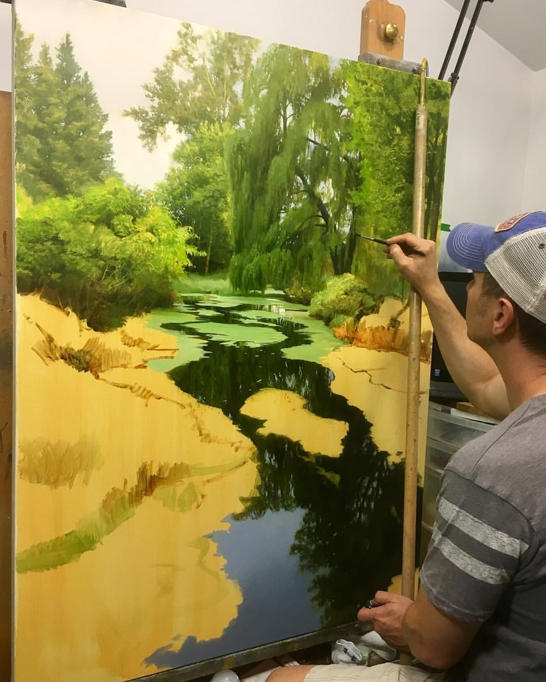 "Renato Muccillo (@renatomuccillo_fine_arts) on Instagram: ""Blocking in this 36x48 lagoon painting that has been staring at me from the corner of the studio.…"""