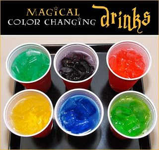 color changing drinks...Put few drops of food coloring in the bottom ...