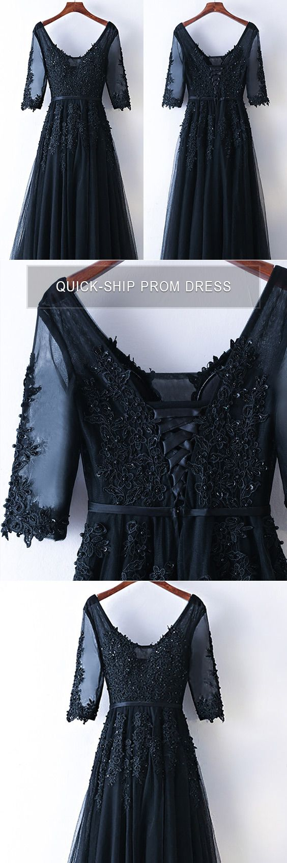 Modest long lace black prom party dress for less myx