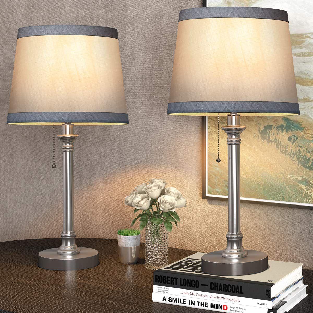 Oneach Modern Table Lamp Set Of 2 For Bedroom Living Room Bedside Night Stand Lamp Small Desk Lamps With Pull Chain Silv In 2020 Lamp Small Desk Lamp Modern Table Lamp