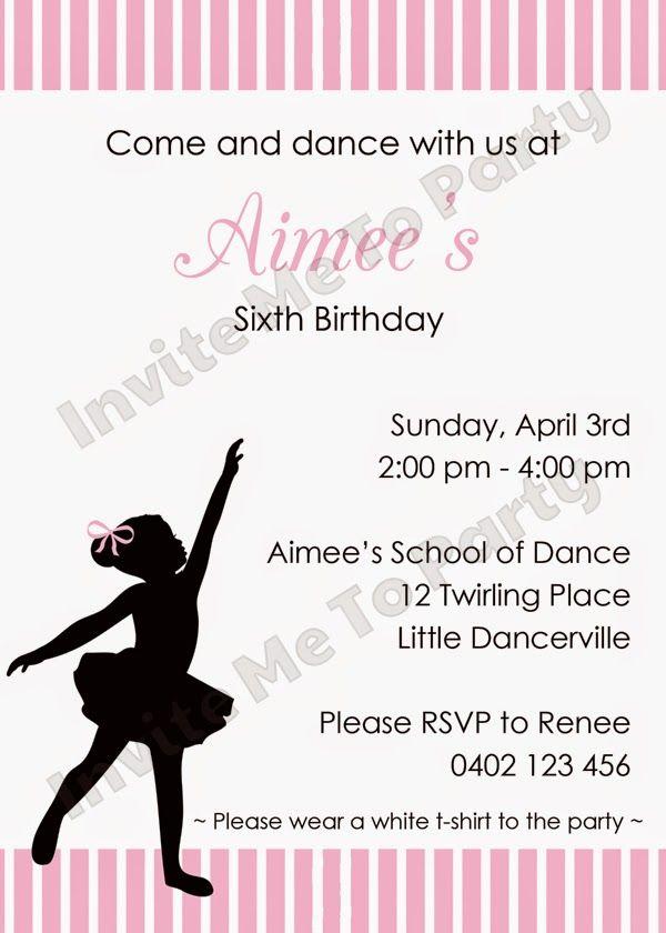 invite me to party ballerina party invitation little dancer