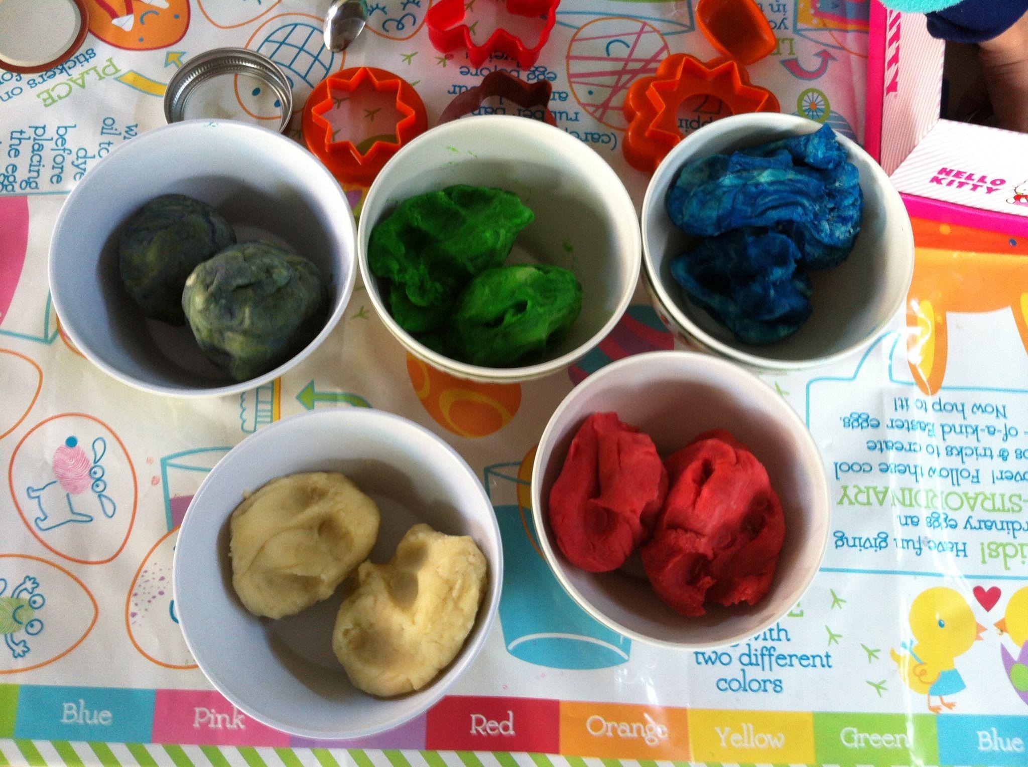 DIY playdough..... 4 cups water, 4 cups flour, 1 cup salt