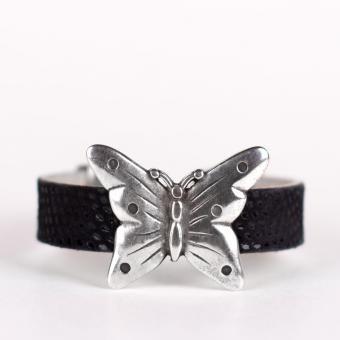 Raya | Wristicuffs Handmade European leather butterfly cuff.  Custom made to order in black, pink or blue.  #handmade #butterflies #bracelets #cuffs #wristicuffs