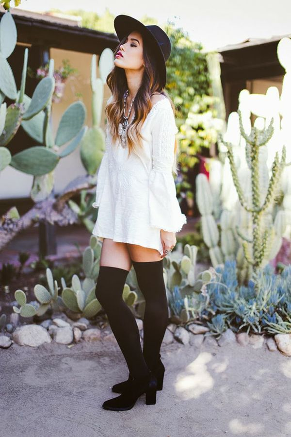 042d0f9a44c1e How to wear thigh high socks- go for boho look with floppy hat and loose