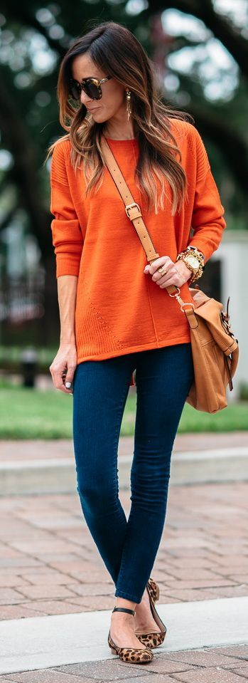 Orange Sweater The Perfect Skinny Jeans Oufitss Moda