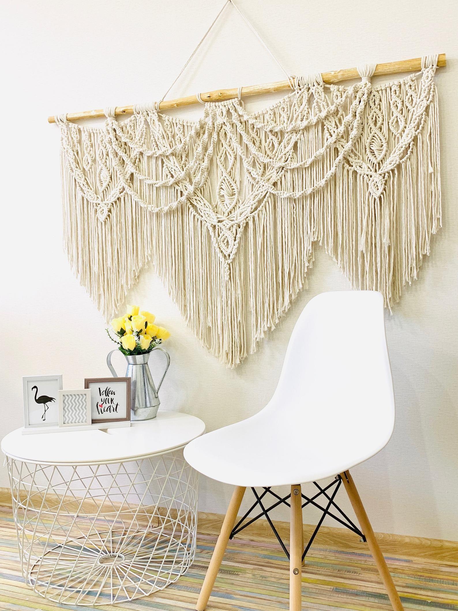wedding decor wooden branch large macrame wall hanging on macrame wall hanging id=21444
