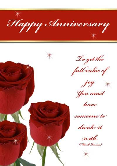 image about Free Printable Anniversary Cards for My Wife named Crimson Roses Anniversary Playing cards -