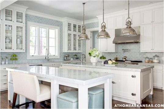 Blue Gray 3x6 Subway Glass Tile Subway Tiles Counter Space And Blue White Kitchens