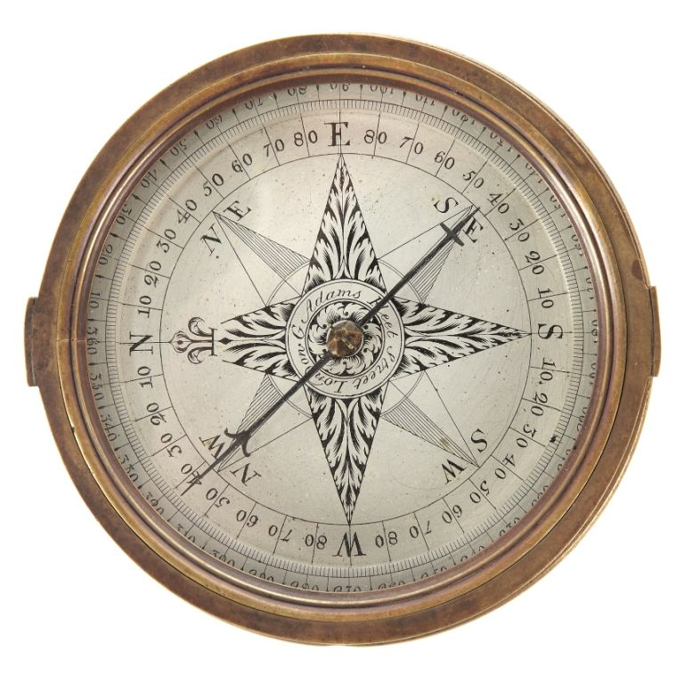 18th-century surveyor's compass by G. Adams, Fleet street, London