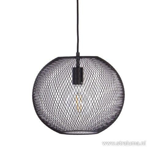 Bolvormige hanglamp met zwarte metalen webbing koopt u eenvoudig op ...