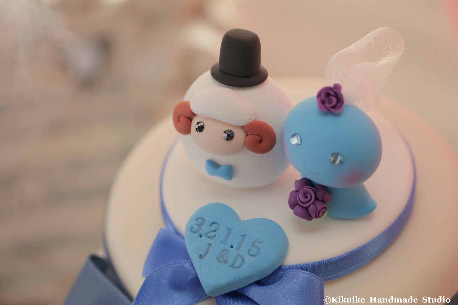 Ram and Snake MochiEgg wedding cake topper