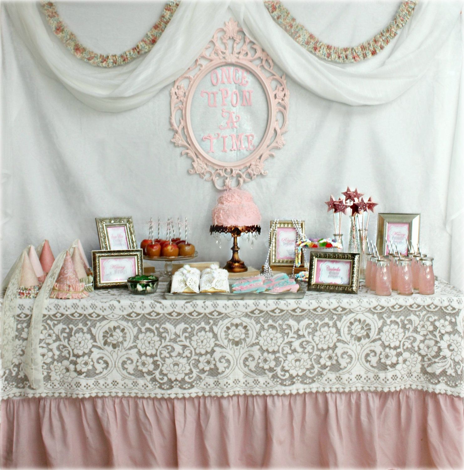 Like the lace on the pink tablecloth Princess Tea party ideas