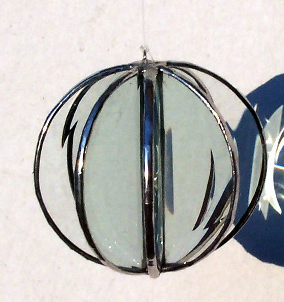 Shiny Beveled Glass Orb, Stained Glass Orb, Crystal Clear
